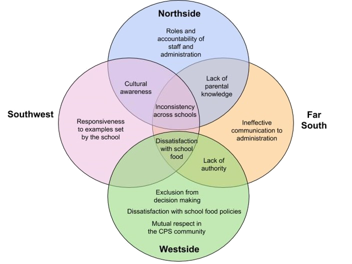 Venn diagram displaying the relationship among discussion themes by city area.