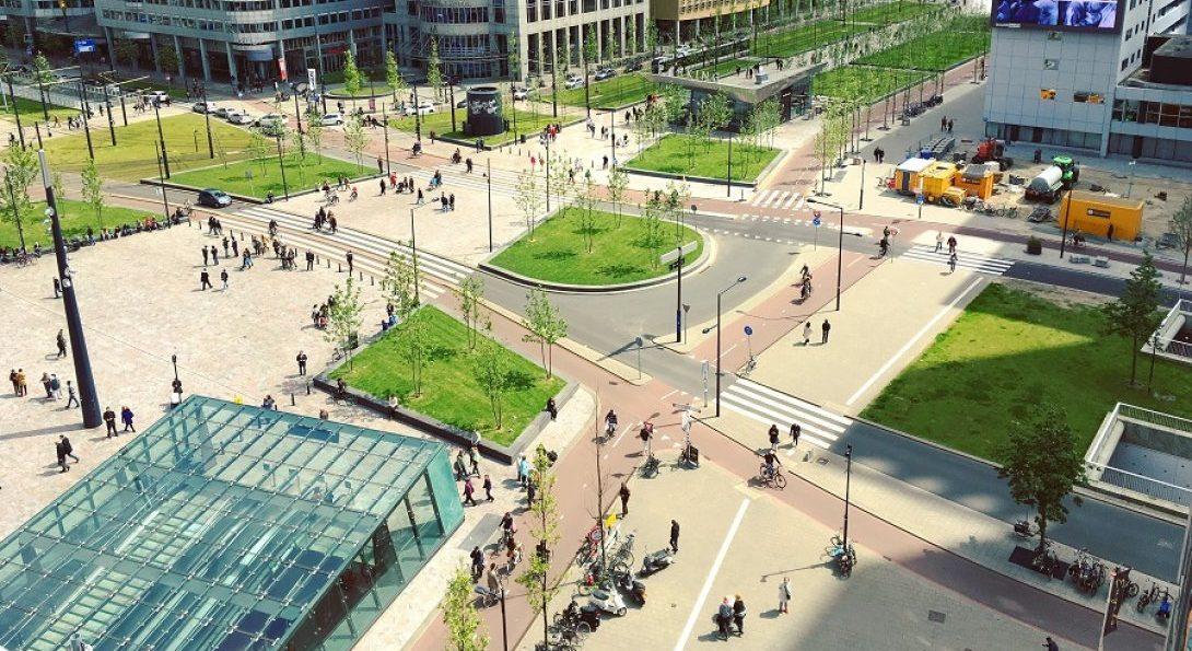 Complete streets aerial view