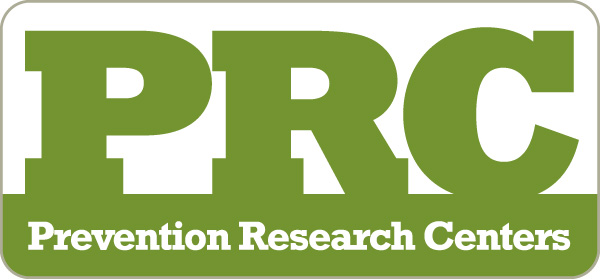 PRC Logo in green caps with Prevention Research Centers in white lettering